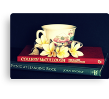 Frangipanis, Books And Teacup. Canvas Print
