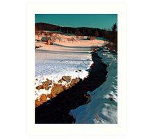 Black stream in winter wonderland | landscape photography Art Print