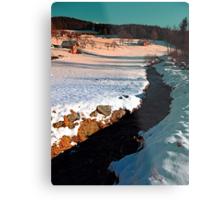 Black stream in winter wonderland | landscape photography Metal Print