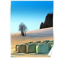 Hay bales in winter wonderland | landscape photography Poster