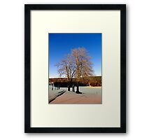 Cross with guardian trees in winter wonderland | landscape photography Framed Print