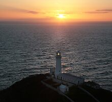 sunset south stack lighthouse-Anglesey. by Raymond Kerr