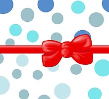 Ribbon, Bow, Dots, Spots (Dotted Pattern) - Blue Red by sitnica