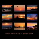 PACIFIC SUNSETS IN RED - Collage by Barbara Gordon