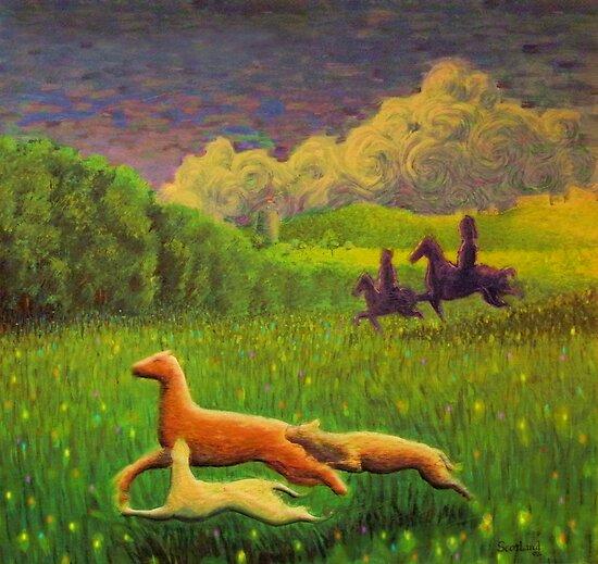 Pictish hunting scene by Matthew Scotland