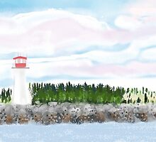 Lighthouse on Canadian Coast by windflower