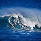 Three Surfers At Waimea Bay by Alex Preiss