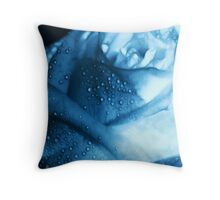 Ice Blue Rose Tears Throw Pillow