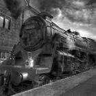 Steam train B & W by WhartonWizard