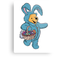 Winnie the Pooh as the Easter Bunny Metal Print