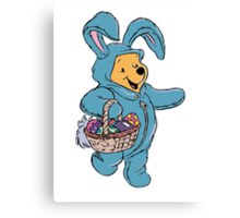 Winnie the Pooh as the Easter Bunny Canvas Print
