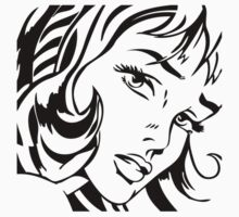 Girl With Hair Ribbon - Roy Lichtenstein Stencil by jaredcheeda
