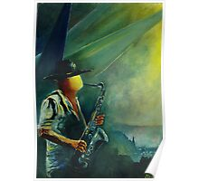Sax player in Dinant Poster