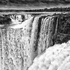Iguazu Falls - Over the Edge - in Monochrome by photograham