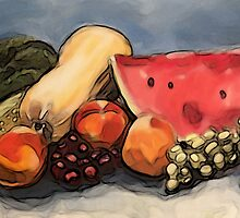 Eat Your Fruit and Vege - digitally enhanced 3 by Jen  Biscoe