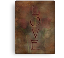 LOVE Trio of Roses Textured Design Love and Romance Series Canvas Print