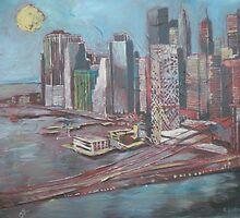 ONE QUIET NIGHT IN NEW YORK CITY, limited edition giclee of D.KLIKOVAC painting by Drasko Klikovac