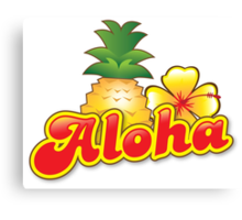 Aloha with cute tropical pineapple and hibiscus flower Canvas Print