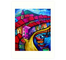 COLOURFUL PORT OF CORRICELLA - ITALY. Art Print