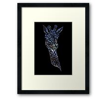 Blue Space Giraffe Framed Print