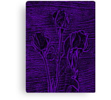 Roses in Purple and Black Textured Digitally Enhanced Photograph Art Canvas Print