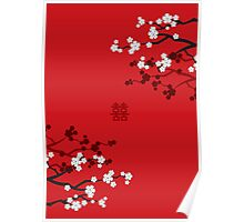 White Sakuras on Red and Double Happiness Poster