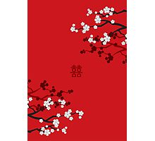 White Sakuras on Red and Double Happiness Photographic Print