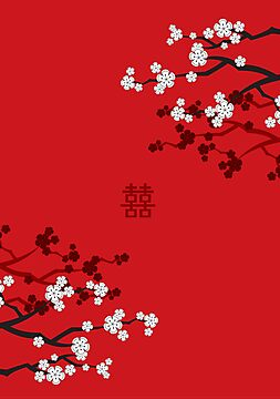 White Sakuras on Red and Double Happiness by fatfatin