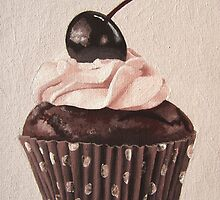 Chocolate Cherry Cupcake by createdtocreate