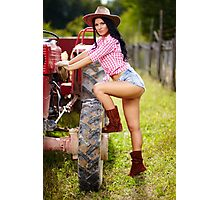 Sexy farmer girl in hat near the tractor Photographic Print