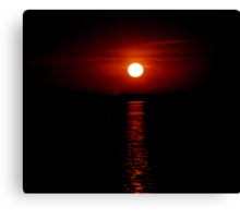 Crimson Sunset (Lake Michigan) Canvas Print