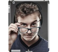 Handsome teenager wearing trendy cap and glasses iPad Case/Skin