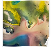 River watercolor abstraction painting Poster