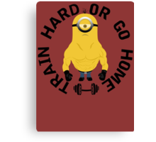 Minion Muscle Train Hard Gym Canvas Print