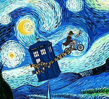 Tardis Flying Starry Night by davinciart
