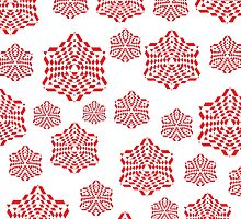 Snowflakes - Red/White by Hayden Di Bona