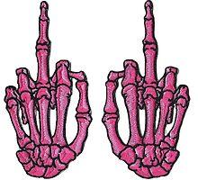 F*ck Off Pink Punk Skeleton Hands by maisie-jane-