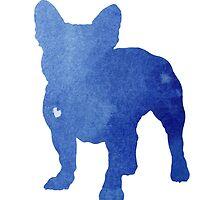 Blue frech bulldog art print painting poster by Joanna Szmerdt