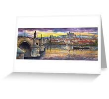 Prague Castle with the Vltava River Greeting Card