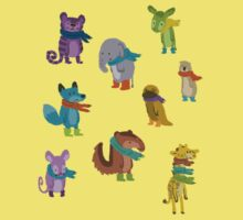 sad and indifferent animals wearing scarves Kids Clothes