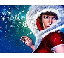 Winter girl in red outfit Photographic Print