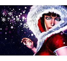 Winter girl in red outfit 2 Photographic Print