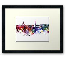 Washington DC skyline in watercolor on white background  Framed Print