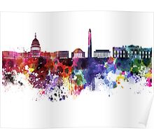 Washington DC skyline in watercolor on white background  Poster