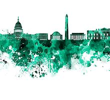Washington DC skyline in green watercolor on white background  by paulrommer