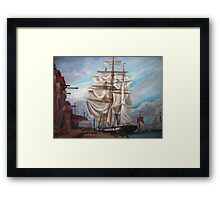 Drying Sails in Dock  Framed Print
