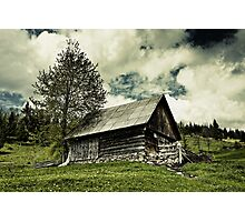 Old barn and moody sky Photographic Print