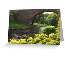 Bushes , Bridge and River Greeting Card