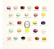 Laduree Macarons Flavor Menu Photographic Print