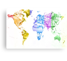 World Map Water Splash Rainbow colors Canvas Print